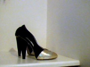 D&G Black Suede and Gold Leather Heels