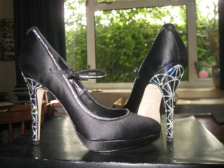 Black silk and diamante shoes
