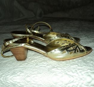 Vera Wang stone studded, gold heels